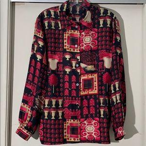 Burberry Black Red Print Silk Button Down Shirt L